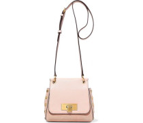 Woman Studded Suede And Pebbled-leather Shoulder Bag Pastel Pink