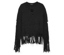 Fringe-trimmed ribbed wool sweater