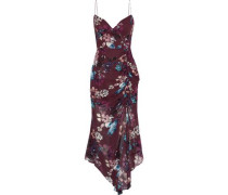 Asymmetric Ruched Floral-print Silk-georgette Midi Dress Burgundy