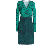 Printed Silk Wrap Dress Jade Size 14