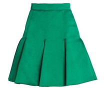Pleated Silk-satin Mini Skirt Green