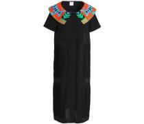 Paneled pleated embroidered crepe midi dress