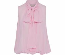 Pussy-bow gathered silk-chiffon blouse