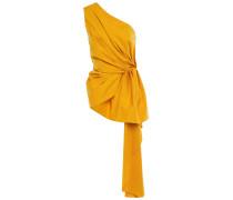 Woman Ancient Sun One-shoulder Draped Stretch Cotton-poplin Top Marigold