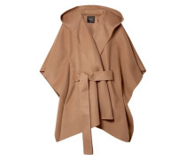 Tie-front Brushed Wool And Cashmere-blend Cape Light Brown  /L