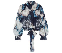Tie-front Shirred Floral-print Silk-chiffon Blouse Navy