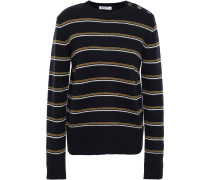 Woman Striped Wool And Cashmere-blend Sweater Midnight Blue