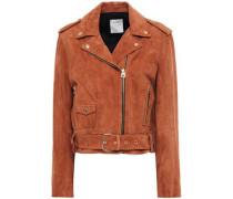 Woman Youna Suede Biker Jacket Light Brown