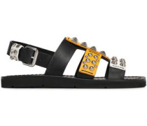 Cutout Studded Leather Sandals Marigold