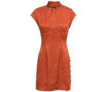 Bow-embellished Satin-jacquard Mini Dress Copper Size 12