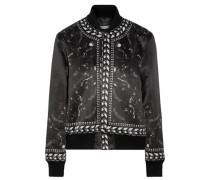 Printed satin bomber jacket