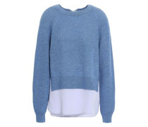 Woman Layered Bow-detailed Wool Sweater Blue