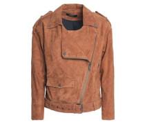 Suede Biker Jacket Light Brown