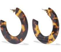 Gold-plated Tortoiseshell Resin Hoop Earrings Animal Print Size --
