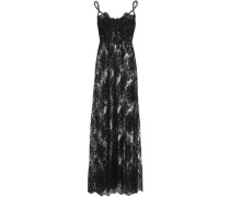 Lace-up Cotton-blend Lace Slip Dress Black   C