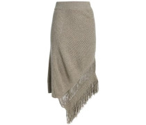 Asymmetric fringe-trimmed cashmere and wool-blend midi skirt