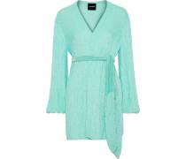 Woman Gabriela Velvet-trimmed Sequined Chiffon Mini Wrap Dress Mint