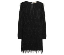 Beaded Fringed Georgette Mini Dress Black