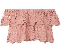 Angelica Cropped Off-the-shoulder Cotton Guipure Lace Top Antique Rose