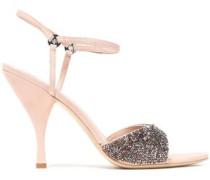 Elodie Bead-embellished Suede Sandals Pastel Pink