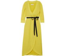 Gauze Midi Wrap Dress Yellow