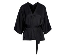 Belted Cutout Crepe De Chine Top Black
