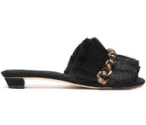 Fringed Embroidered Woven Mules Black