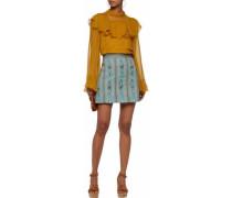 Bead-embellished woven cotton mini skirt