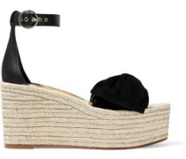 Bow-embellished Leather And Suede Platform Espadrilles Black