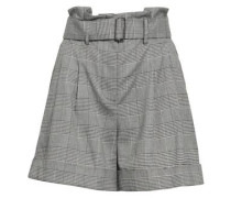 Belted Prince Of Wales Checked Jacquard Shorts Gray Size 0