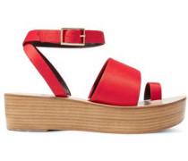 Janie Satin Platform Sandals Crimson