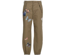Embroidered Cotton-twill Tapered Pants Army Green