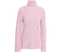 Mercer Mélange Ribbed Merino Wool-blend Turtleneck Sweater Baby Pink