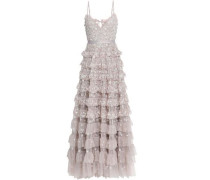 Marie Tiered Embellished Tulle Gown Neutral Size 12