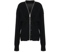Zip-detailed Knitted Cardigan Black