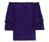 Woman Georganne Off-the-shoulder Ruffled Silk Top Violet