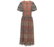 Scalloped Metallic Embroidered Tulle Midi Dress Storm Blue