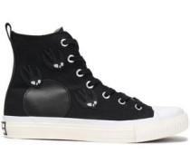 Appliquéd canvas sneakers