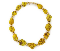 Gold-tone beaded stone necklace