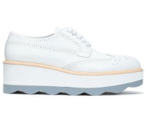 Perforated Leather Platform Brogues White