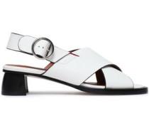 Cross Leather Slingback Sandals White