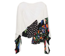 Woman Paneled Patchwork-effect Silk-blouse Ivory