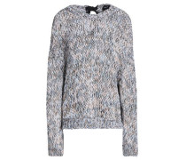 Tie-back Marled Open-knit Cotton Sweater Taupe