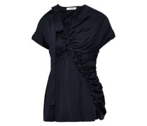 Bow-detailed Ruched Satin Blouse Midnight Blue