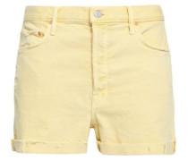 Distressed Denim Shorts Pastel Yellow  4