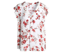Ruffle-trimmed Floral-print Silk Crepe De Chine Top White