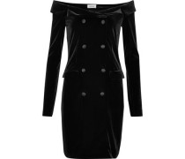 Romilly off-the-shoulder button-embellished velvet mini dress