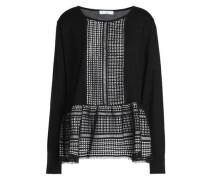 Macramé-paneled Wool Top Black