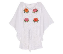Embroidered cotton guipure lace coverup
