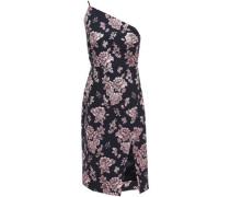 One-shoulder Metallic Floral-jacquard Dress Midnight Blue